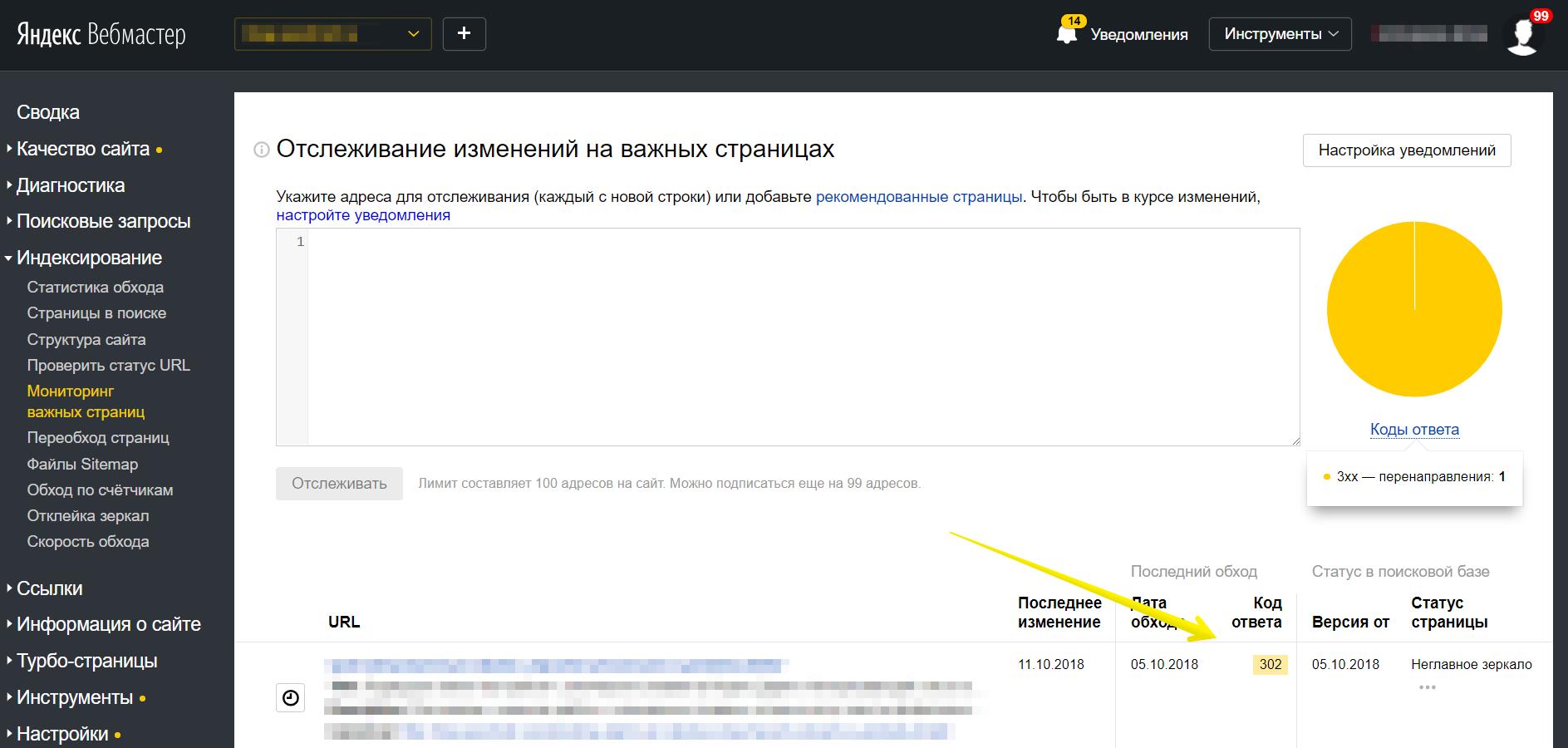 Инструмент Яндекс.Вебмастера для отслеживания статуса важных страниц